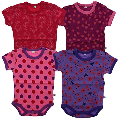 Pippi Body Ss Ao-Printed (4-Pack), Blusa para Bebés, Rosa, 62 Cm (talla Del Fabricante: 62 Cm)