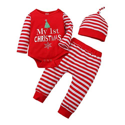 Geagodelia Conjunto de ropa para bebé de Navidad para niño, niña, body de manga larga + pantalón...