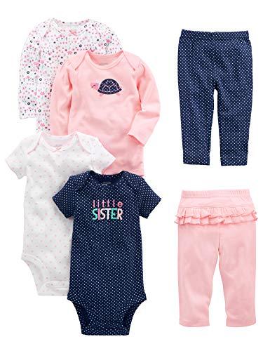 Simple Joys by Carter's Conjunto de 6 piezas de body para niñas (manga corta y larga) y pantalones...