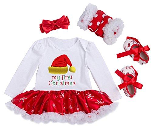 YK&loving - Set 4 Vestido Mangas Algodón de Dibujo Navidad + Calentador de Pierna Encaje +...