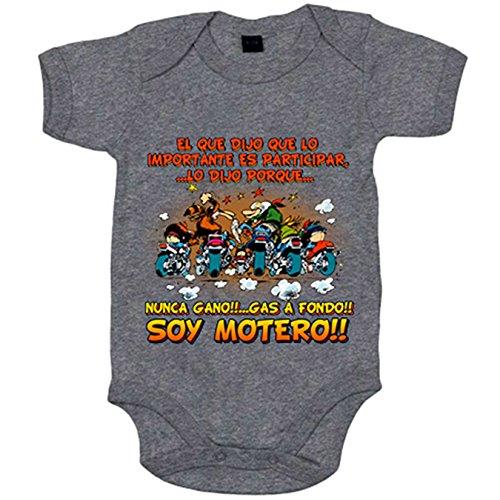 Body bebé El que dijo que lo importante es participar gas a fondo soy motero - Gris, 6-12 meses
