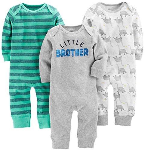 Simple Joys by Carter's enteritos para bebés, paquete de 3 ,Dino/Green Stripe/Gray ,US NB (EU...