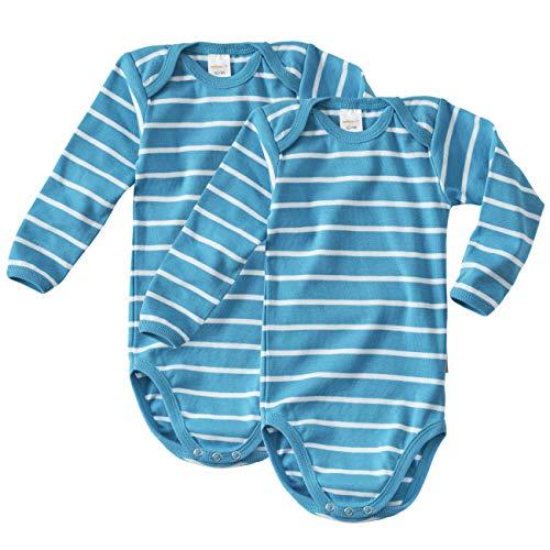 WELLYOU Body Mangas largas para bebés/niños, Hecho 100% de algodón. Conjunto de 2 Color Azul...