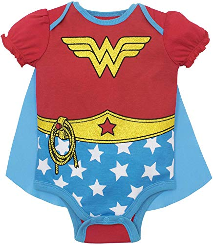DC Comics - Body con capa para niña - Wonder Woman y Harley Quinn, Wonder Woman Stars, 0-6 Meses