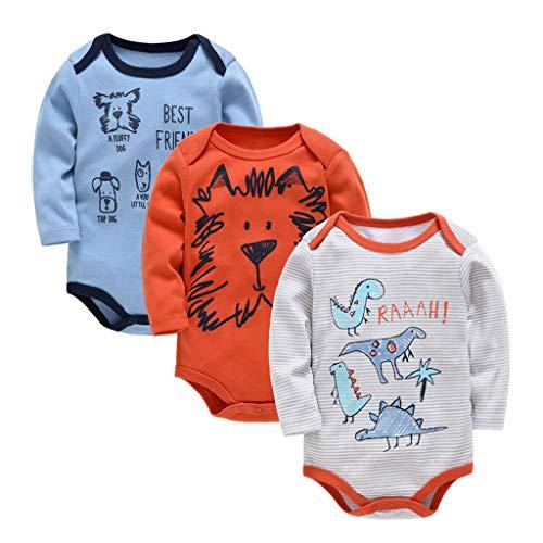 Bebé Body Pack de 3 - Mono Niños Mameluco Manga Larga para Niñas Pijama Trajes de Invierno...