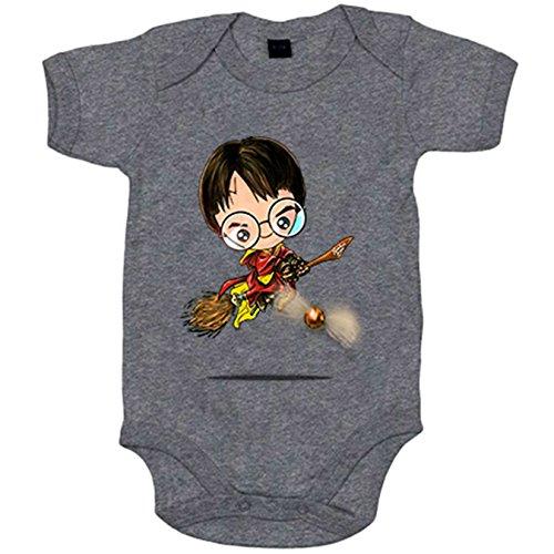 Body bebé Chibi Kawaii Harry Potter Quidditch parodia - Gris, 6-12 meses