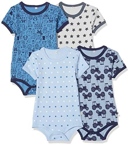 pippi 4er Pack Baby Body mit Aufdruck, Kurzarm, Azul, 1 mes para Bebés
