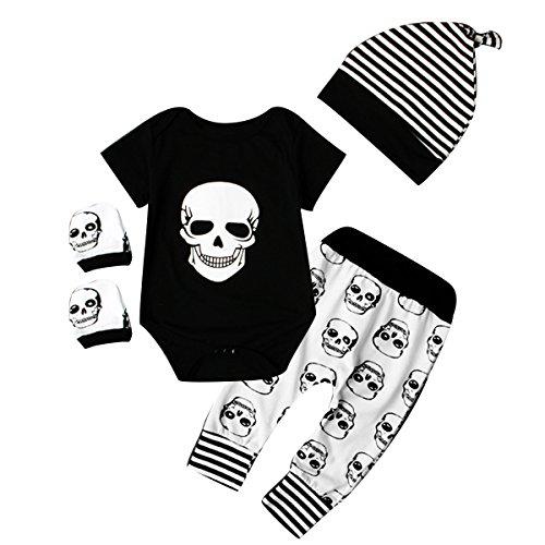 Juego de ropa de bebé para recién nacido (body, pantalones, gorro, manoplas) con diseño de...