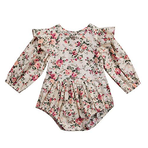 Carolilly Body de bebé con estampado floral de manga larga y volantes, de algodón multicolor 12-18...
