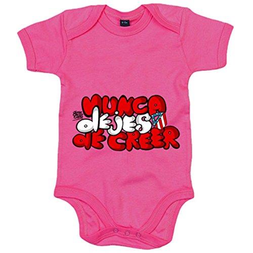 Body bebé Atlético de Madrid letras nunca dejes de creer - Rosa, 6-12 meses