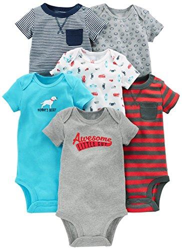 Simple Joys by Carter's - Body de manga corta para bebé, 6 unidades ,Azul marino/Rojo ,18 Meses
