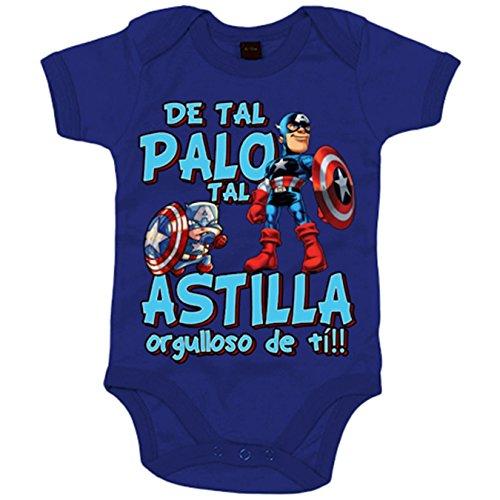 Body bebé parodia capitán superhéroe de America de tal palo tal astilla orgulloso de ti - Azul...