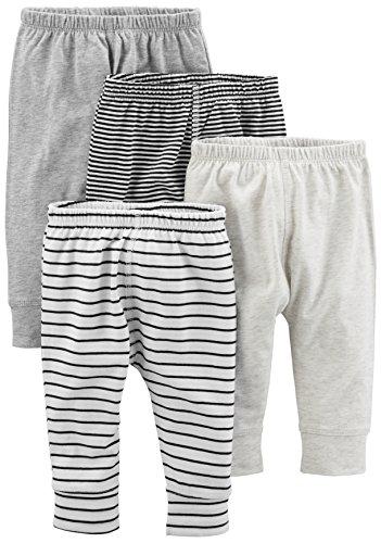 Simple Joys by Carter's Baby paquete de 4 pantalones ,Gray/Gray Stripe ,Recién nacido