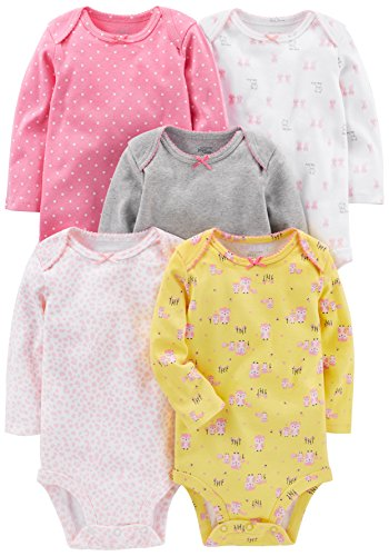 Simple Joys by Carter's - Body de manga larga para niña (5 unidades) ,Pink, Gray, White, Yellow...