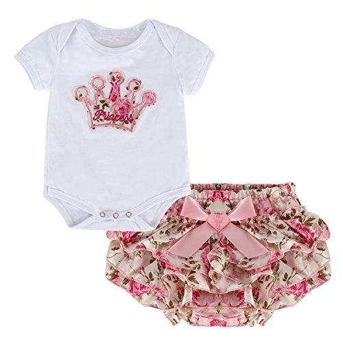 Puseky - Pelele y falda para niña recién nacida, diseño de corona de princesa