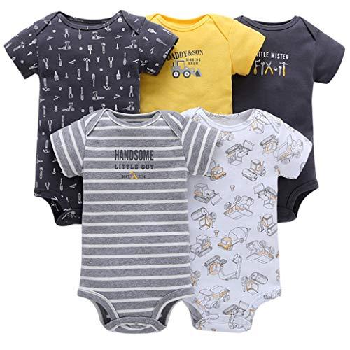 Bebé Body Pack de 5 - Mono Niños Mameluco Manga Corta para Trajes Baño Ropa de Verano Algodón...