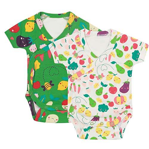 Pack de dos mamelucos de manga corta para bebé de algodón orgánico suave para cultivar tu propia...