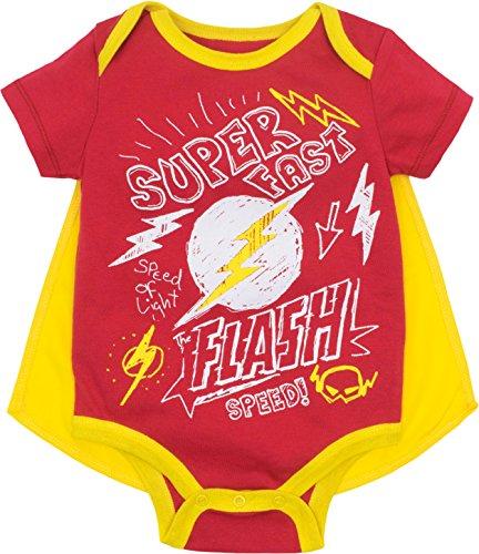 DC Comics Justice League - Conjunto de body y capa para bebé The Flash Amarillo 12 Meses