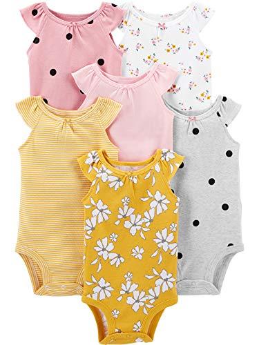Simple Joys by Carter's 6-Pack Sleeveless Bodysuit Camisa, Rosa, Floral/Lunares, 0-3 Meses, Pack de...