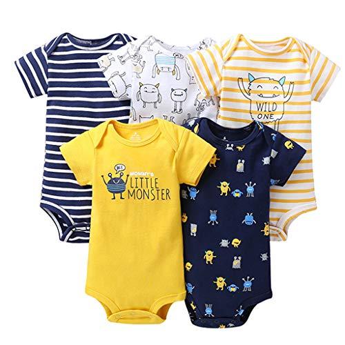 Paquete de 5 Bebé Niños Manga Corta Body Mameluco Algodón Chaleco Conjuntos 6-9 Meses