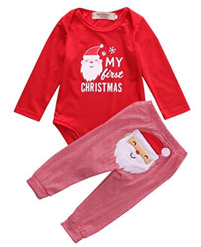 Mi Primera Navidad 2 Piezas Traje para Bebé Recién Nacido Conjunto de Mameluco de Manga Larga y...