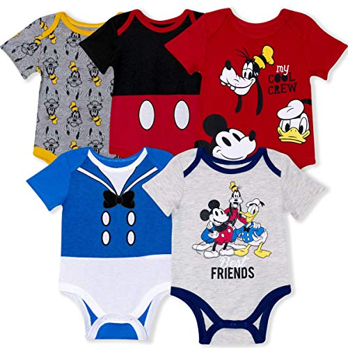 Disney 5-Pack Baby Boy Onesies with Mickey, Donald, Goofy for Infant and Newborn
