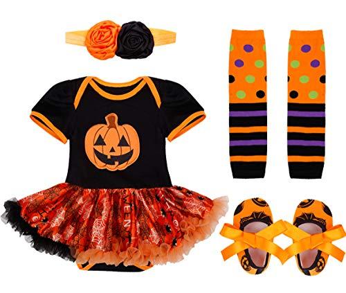 IEFIEL Vestido Calabaza para Bebe Niña Disfraz Halloween Cosplay Body Manga Cortas Conjunto...