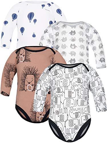 Sibinulo Niño Niña Body Bebé Manga Larga Pack de 4 Elefantes Negros Elefantes Grises Globos...