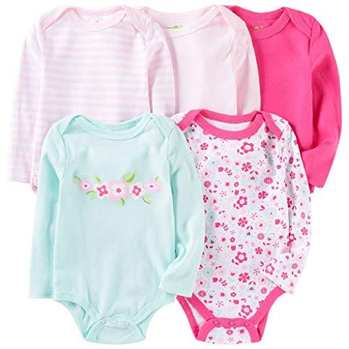 Pack de 5 Bebé Niñas Body Mono de Manga Larga Mameluco Algodón Peleles Comodo Pijama Regalo de...