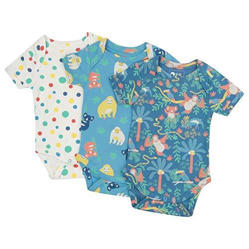 Piccalilly Paquete de 3 enterizos para bebé, algodón orgánico libre de químicos, diseño unisex...