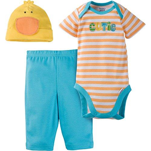 Gerber 3-Piece Bodysuit, Pant and Cap Set Juego de Pantalones, One with Nature, 9 Mes para Bebés