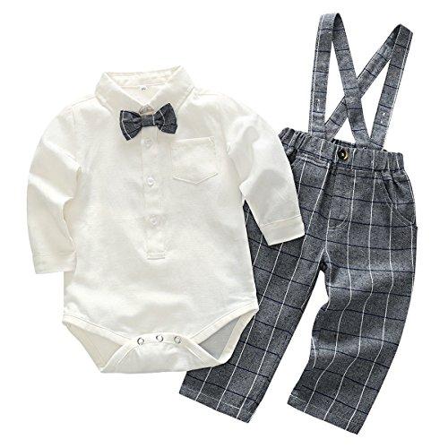 Feoya Camisa Blanca Mono con Pantalones Tirantes Traje Bebé Niño Algodón para Boda Bautizo...