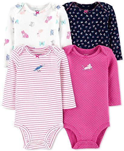 Carter's - Body de manga larga unisex para bebé (4 unidades) - Rosa - recién nacido
