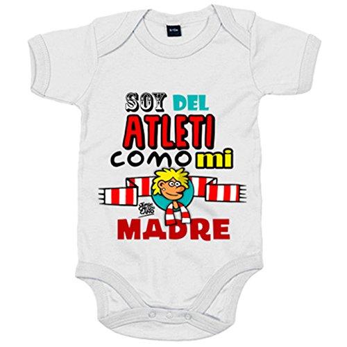 Body bebé Atlético de Madrid soy del Atleti como mi madre - Blanco, 6-12 meses