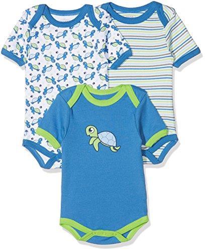 Schnizler kurzarm, 3er Pack Schildkröte, Oeko-Tex Standard 100, Body Bebé niños, Azul (Original),...