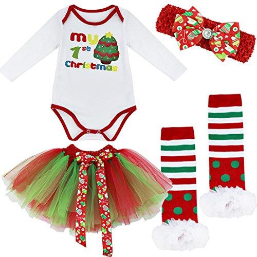 IEFIEL Disfraz Navidad Para Bebé Unisex pijama Infantil Conjunto 4pcs Carnaval Body de Papá Noel...