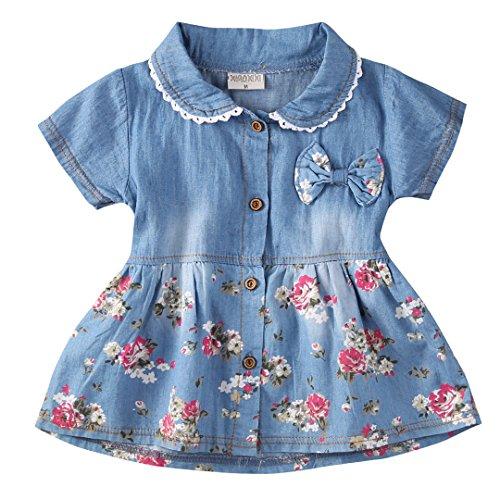 Chollius Body para bebé de 1 a 4 años, vestido vaquero de princesa, manga corta, bordado, con...