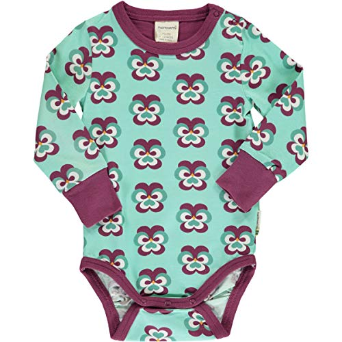 Maxomorra - Body de manga larga para bebé (algodón orgánico) turquesa 86 cm-92 cm
