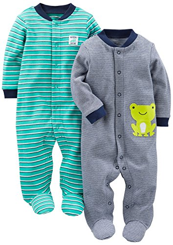 Simple Joys by Carter's Paquete de 2 pieles de algodón para dormir y jugar ,Navy/Turquoise Stripe...