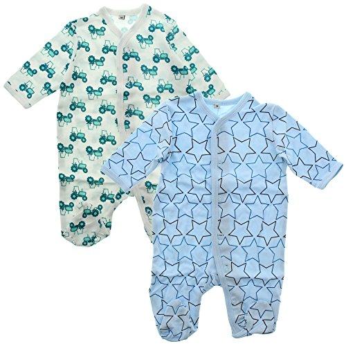 pippi Nightsuit W/F -Buttons (2-Pack) Pijama, Azul Claro, 6 Mes para Bebés
