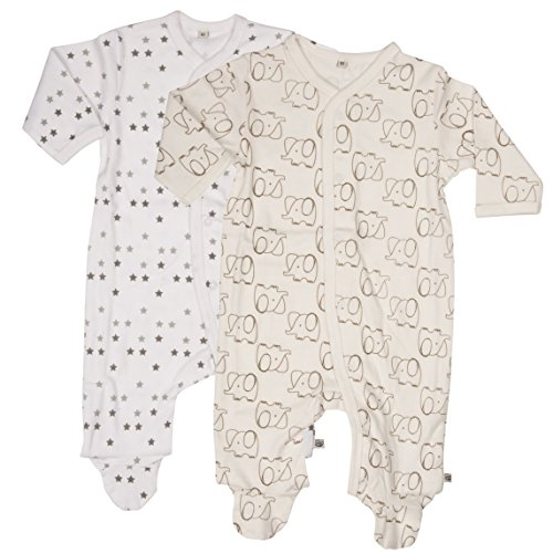 pippi Nightsuit W/F-Buttons (2-Pack) Pijama, Marfil (Off-White), 56 cm para Bebés