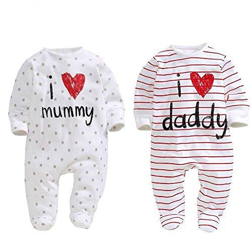 Juego de dos peleles para bebé unixez, marca Aomomo para recién nacidos con mensajes impresos...