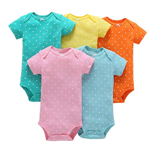 Bebé Niñas Manga Corta Body Paquete de 5 Mono Algodón mameluco Pijama Conjuntos 3-6 Meses