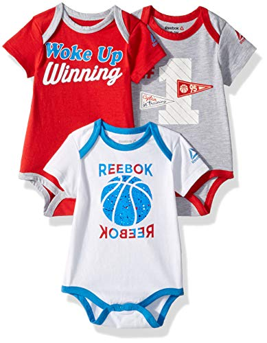 Reebok Baby Boys 3 Piece Basketball Star Creeper Pack, White Heather Grey, 0-3 Months