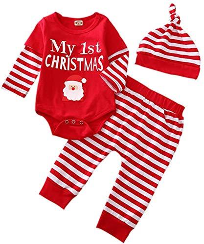 Bebé recién Nacido niño niña Trajes de Navidad de Manga Larga a Rayas Mono Mono Pantalones...