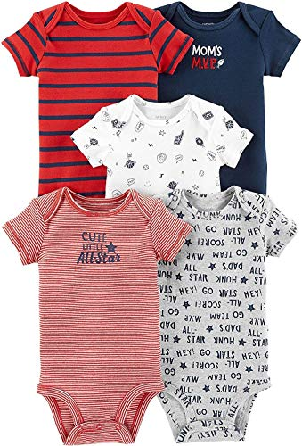 Carter's Baby Boys 5-Pack Original Short Sleeve Bodysuits (Blue/Red) (Newborn)