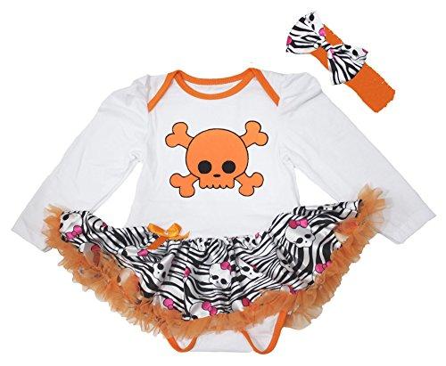 Halloween Dress L/S Naranja Cruz Hueso Blanco Body de tutú de cráneo de Cebra bebé 0–18M...