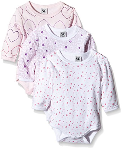 Care Bali Body Bebé-Niñas, pack de 3, Rosa (Light red 500), 9 Meses / 74 cm