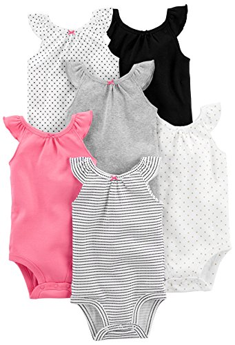 Simple Joys by Carter's - Body sin mangas para niña (6 unidades) ,Black, White Pink Ruffle ,Preemie