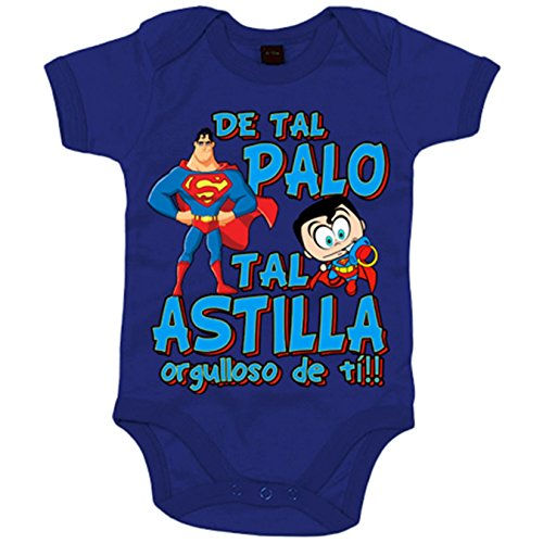 Body bebé parodia superhéroe Super hombre de tal palo tal astilla orgulloso de ti - Azul Royal,...